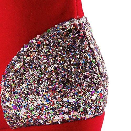 VogueZone009 Femme Zip Rond à Talon Bas Haut Bas Bottes avec Paillette Rouge
