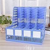 Blaue Kunststoff-Magazin Rack File Splitter Aktenschrank Rack Display und Storage Manager 4 Grid-Desktop-Dateien/Archiv Bürobedarf, 32,6 * 26,7 * 31,2 cm