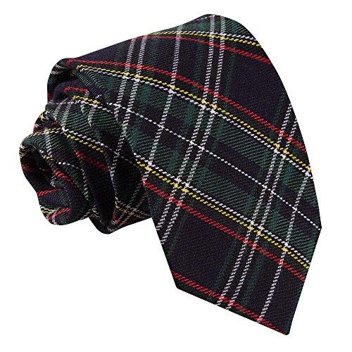 Neu DQT Baumwolle Scottish Schottenkaro Herren Mode Elegante Klassisch 9cm Krawatte Schwarz und Grün mit Dünne Gestreift