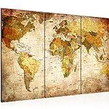 Bilder Weltkarte World map Wandbild 120 x 80 cm Vlies - Leinwand Bild XXL Format Wandbilder Wohnzimmer Wohnung Deko Kunstdrucke Braun 3 Teilig - Made IN Germany - Fertig zum Aufhängen 103431a