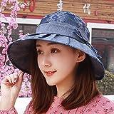 QIER-MZ Frühlings-/Sommer-Tagesc $ Rollenhut-Hut-Kunst Und Kultur Fischer-Hut Zusammenklappbarer Sonnenhut-Weiblicher Strand-Hut Blau
