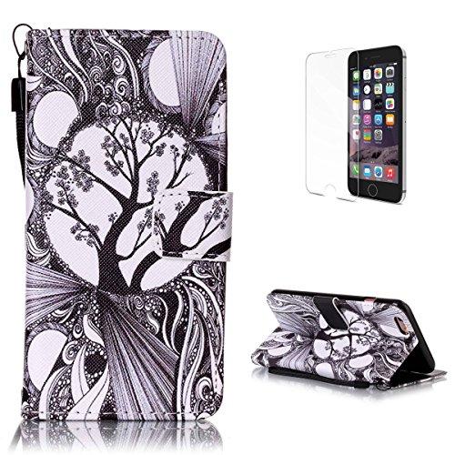 CaseHome iPhone 6 Plus/6S Plus 5.5'' PU Leder Hülle Mode der eleganten Fall Schön Geprägte Muster Gedruckt Entwurf (Mit freiem HD Schirm-Schutz) Tadellos gepasst für iPhone 6 Plus/6S Plus 5.5'' PU Led Schwarz und weiß Baum
