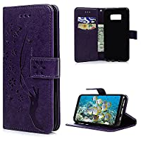 S8 Case, Galaxy S8 Wallet Case, YOKIRIN PU Leather Magnetic Folio Inner Soft TPU Embossed Butterfly Hand with Card Slots Kickstand Flip Wallet Cover for Samsung Galaxy S8, Purple