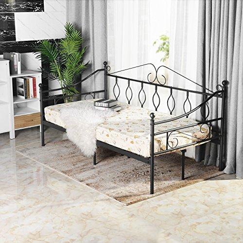 Aingoo Tagesbett Metallbett mit Bettrahmen für Schlafzimmer Wohnzimmer Balkon (Schwarz, 100 x 200 cm)