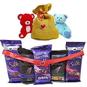 Pack of branded choclates with Teddy bear and Jute Bag