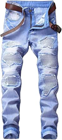 TieNew Vintage Relaxed Distressed Jeans,Fashion Trend Personality Destroyed Ripped Denim Jeans, Skinny Slim fit Biker Jeans for Men