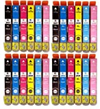 COMBO PACK 24 Pack 4 Full Sets of High Capacity Compatible Non Oem ink cartridges multipack T2438, For EPSON Expression Premium XP-750, XP-850 and XP-950 Inkjet Printers FOR 24XL ELEPHANT SERIES. T2431 black, T2432 cyan, T2433 magenta, T2434 yellow, T2435 light cyan, T2436 light magenta Chipped by Global Toners