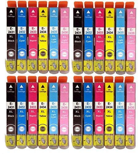 Combo Pack Lot de 4ensembles complets de cartouches d'encre haute capacité compatible non d'origine Multipack T2438Lot de 24, pour Epson Expression Premium XP-750, XP-850et XP-950d'imprimantes jet d'encre pour 24Série X L éléphant. Noir T2431, cyan T2432, magenta T2433, jaune T2434, cyan clair T2435, magenta clair T2436–Puce par global Toners