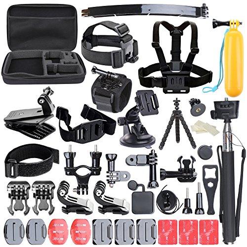 Galleria fotografica ccbetter Set di 50 Accessori in 1 per macchina fotografica sport GoPro Eroe 4 Sessione Eroe 1 2 3 3 + CS710 CS720W + SJ4000 5000 6000 7000 con valigetta nera