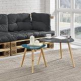 [en.casa] Tavolino da salotto nobile in un set di 2 - grigio e turchese - gambe del tavolo do legno massello - faggio