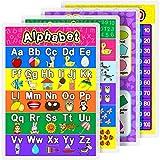 Póster Educativo Pósters Preescolares Laminados para Niños Jardín de Infancia Aula, 16,9 x 11,9 Pulgadas (Alfabeto, Número 1-10, Número 1-100, 2D/3D Formas, 4 Piezas)
