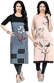 Navlik Women's Crepe Stitched Kurti Combo Pack of 2 (Multi-Coloured)