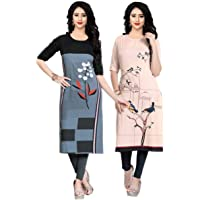 Navlik Women's Crepe Straight Kurta (Pack of 2)