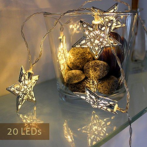 Lichterkette batteriebetrieben außen und innen Kette mit Sterne Beleuchtung LED Sterne warmweiß Dekoration für Weihnachten, Advent, Haus, Feier