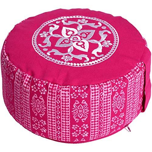 Lotus Design Meditationskissen/Yogakissen rund, Block Print Style, 15 cm hoch, Bezug 100% Baumwolle waschbar, Yoga…
