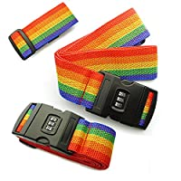 The Best Kingdom Brand New 2 x Pack Adjustable Luggage Packing Lock Belt Security Strap Travel Rainbow Baggage Tie with Password Lock Clip