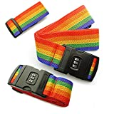 The Best Regno nuovissimo 2pezzi regolabile bagagli imballaggio cinghia di blocco cintura di sicurezza bagaglio di viaggio Rainbow Tie con password Lock clip