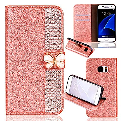 Samsung Galaxy S7 Wallet Case,Samsung Galaxy S7 Flip Case,Leather Case with Stand for Samsung Galaxy S7,Luxury Novelty Cool Cut Premium Scratch Resistant 3D Bling Sparkle Shiny Glitter PU Leather Creative Butterfly Design Claw Chain Diamond Rhinestone Pattern Folio Magnetic Closure Flip Wallet with Credit Card Holder Slots [Kickstand] Full Body Protection Book Style Bumper Case Cover Shell for Samsung Galaxy S7 5.1
