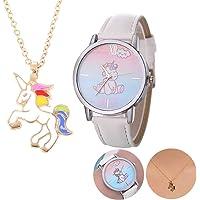Set di collana con ciondolo a forma di unicorno e orologio da polso con cinturino in pelle e stampa unicorno, regalo di…
