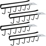 Lot de 4 Armoire Insert Porte-Tasses Porte-gobelet pour 6 Tasses Crochets de rangement pour Tasses Rangement Crochets pour Us
