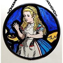 Décoratif peint à la main en forme de vitrail Attrape-soleil/Patch dans un Design Alice au Pays des merveilles