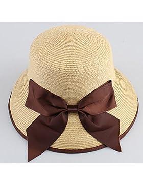 LVLIDAN Sombrero para el sol del verano Lady Anti-Sol Playa sombrero de paja plegable beige
