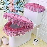 Cojin de tela de encaje de encaje de aseo, tres piezas, WC asiento Cojin Cojin de cadena, inodoro,B - engrudo de frijol rojo