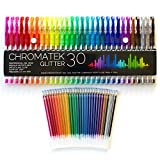 Glitter Pens by Chromatek. Best Colors. 200% the Ink: 30 Pens And 30 Free Refills! Super Glittery Ultra Vivid Colors! No Repeats. Pro Art Pens. Loved by Adults and Children. Perfect Gift!