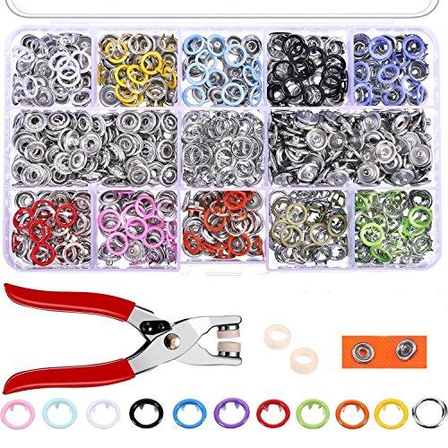 OFNMY 200 Stück SNAPS9.5mm DruckknöpfeSet Druckknopf mit Zangen in 10 Farben Nähfrei Buttons , ideal für Mutter,Schneider,DIY Liebhaber