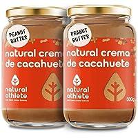 Beurre de Cacahuètes Natural Athlete, 100% Cacahuètes, Sans Sucres ni Additives, Végan, Sans Gluten, Sans Lactose, Sans Huile de Palme -Pack 2x500g