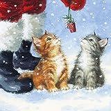 20 Servietten 33x33 cm Weihnachten Weihnachtskatze Weihnachtsmann Katzen Geschenke Winter