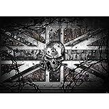 Vlies Fototapete PREMIUM PLUS Wand Foto Tapete Wand Bild Vliestapete - Totenkopf Rose Stachel England Nieten - no. 720, Größe:300x210cm Vlies