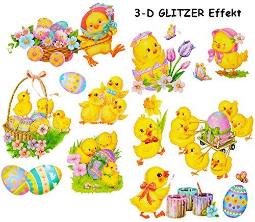 alles-meine.de GmbH 14 TLG. Set _ 3-D Glitzer Effekt - Fensterbilder -  Osterküken & Ostereier  - statisch haftend - selbstklebend + wiederverwendbar / Ostern & Frühling - OSTE..