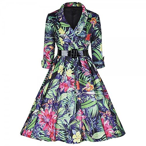 Ecollection®50's Weinlese Rose Blumendruck Rockabilly Kleid 3/4 Ärmel A