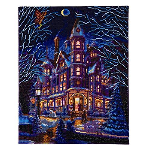 Craft BUDDY Diamond Painting Bild Cottage mit LED Beleuchtung, auf Keilrahmen, ca. 50x40cm, Vollbild