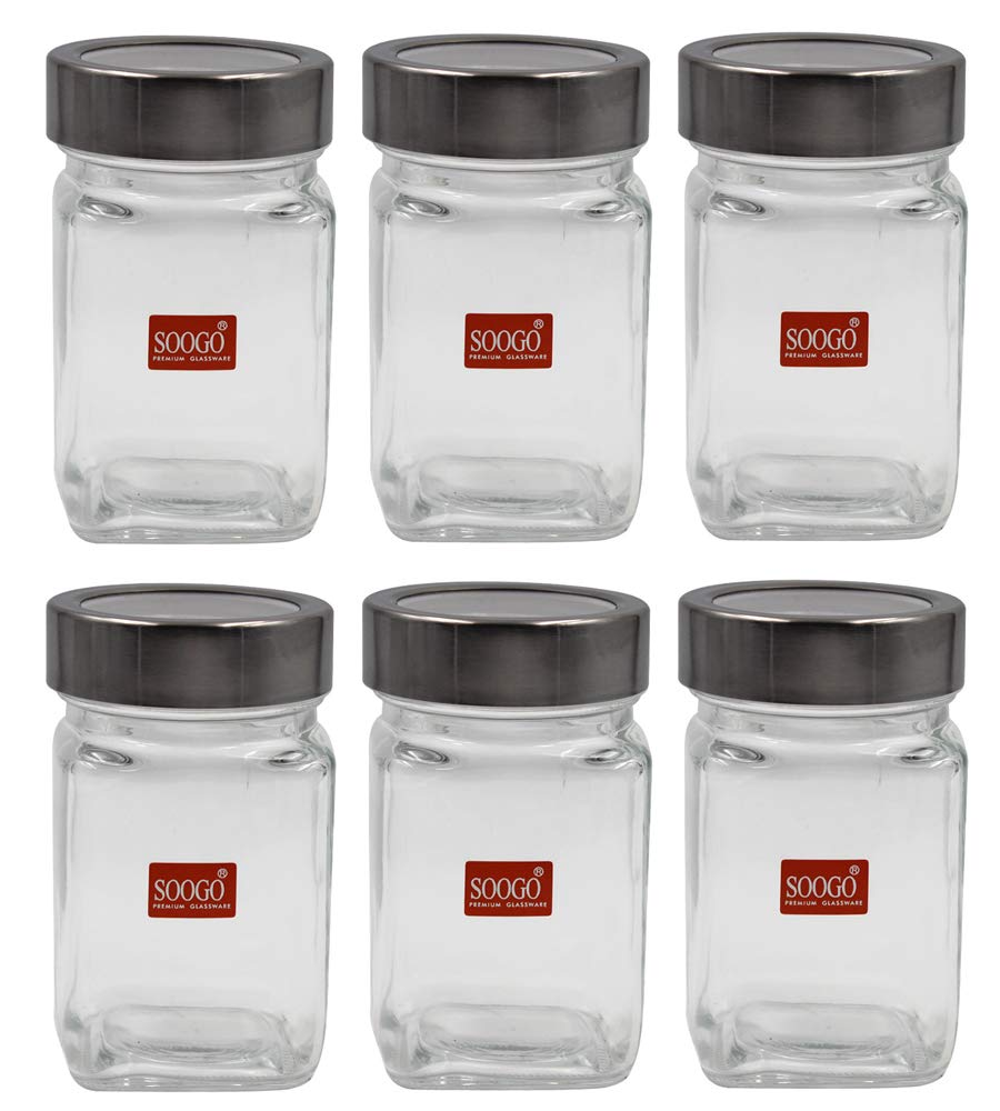Soogo Glass Jar Set with Lid, 310ml, 6-Pieces, Transparent   Home and  Kitchen, Jars and Containers, Kitchen and Dining, Kitchen Storage and  Containers ...