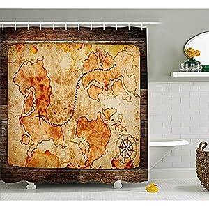 Yeuss Island Map Decor Collection, Grungy Mapa del Mundo con una brújula sobre fondo rústico de madera diseño vintage Atlas Cortina de ducha de tela de poliéster con ganchos, color crema marrón de 152 x 182 cm