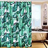 [Patrocinado]Charlesshunshun Cortina de baño , Flamencos, de phoenicopterus, 180cm*180cm, a prueba de agua y moho, hecha con fibra poliéster ,con imprentas ecológicas ,con enganches gratuitos. (green leaves)