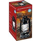 Idena 10032443 - Retro Design olielamp, LED campinglantaarn met 12 zeer heldere LED, dimfunctie, werkt op batterijen ca. 24 x