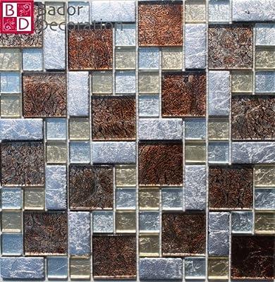 1 Matte Glasmosaik Mosaikfliesen Mosaik Glas Edelstahl Silber Gold Braun 30x30 von Bador bei TapetenShop