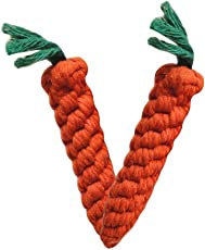 Pets Empire Puppy Chew Toys Carrot Durable Braided Rope Toy For Cats & Dogs 2 Pack , Small