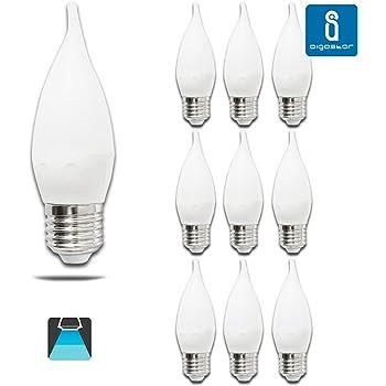 Pack de 10 Bombillas LED CL35 vela, 4W, casquillo gordo E27, 320 lumen