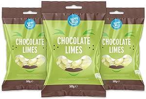 Marchio Amazon - Happy Belly - Caramelle all'aroma di lime con cuore di cioccolato fondente, 3x500g