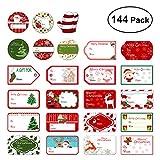 Tinksky 144 Noël auto-adhésif cadeau autocollants 24 modèles assortis Santa bonhommes de neige Noël arbre cerf Noël Festival anniversaire mariage cadeaux décoratifs étiquettes autocollants
