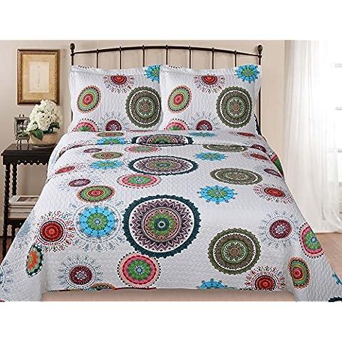 Forentex- Colcha reversible de verano, (230x260cm) set de cama, diponible varios tamaños(ME-2627)