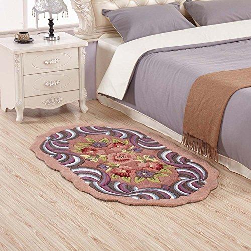 ZHANGRONG-- Hecho a mano de acrílico chino antiguo cómodo y eficiente Elipse alfombra Sala de estar dormitorio cama de matrimonio alfombra (Color opcional) --Alfombra de decoración para el hogar ( Color : 1 )