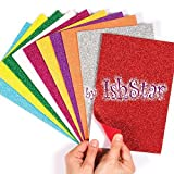#9: Jiada Self-Adhesive Glitter Foam Sheets Sticky Back Foam Sheets, Pack of 10
