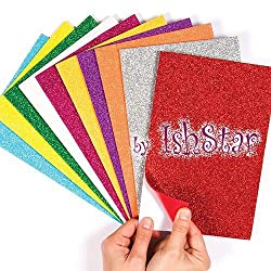 Self-Adhesive Glitter Foam Sheets Sticky Back Foam Sheets Pack of 10