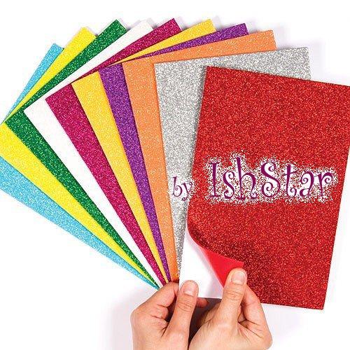 Self-Adhesive Glitter Foam Sheets Sticky Back Foam Sheets Pack of 10