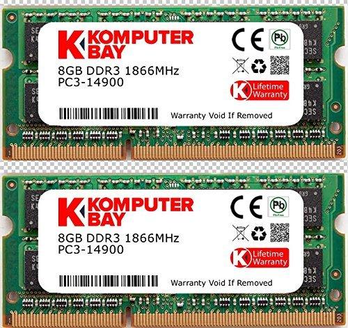 Komputerbay 16gb dual channel kit 2x 8gb 204pin ddr3-1866 so-dimm 1866 / 14900s (1866mhz, cl13) per apple imac 275k (late 2015)